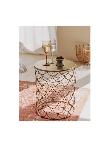 Stolik pomocniczy z metalu River, Metal powlekany, Złoty, Ø 41 x W 50 cm