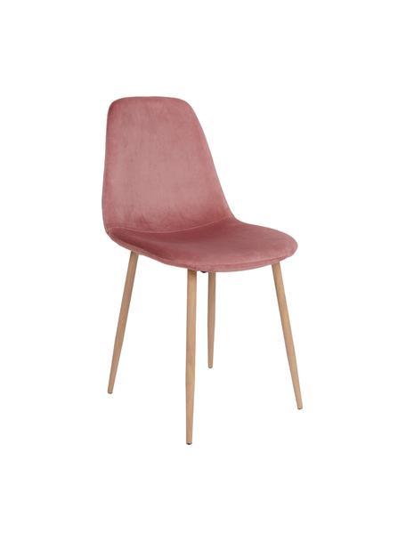 Sedia imbottita in velluto Stockholm, Gambe: metallo rivestito, Rosa, marrone chiaro, Larg. 47 x Alt. 50 cm