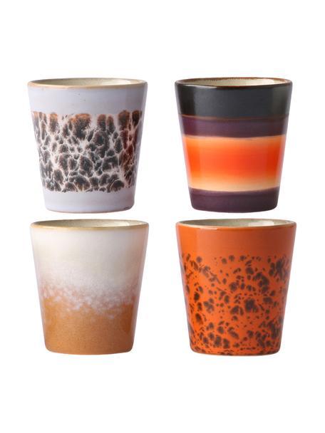 Set 4 tazzine caffè stile retrò senza manico fatte a mano 70's, Gres, Multicolore, Ø 6 x Alt. 6 cm