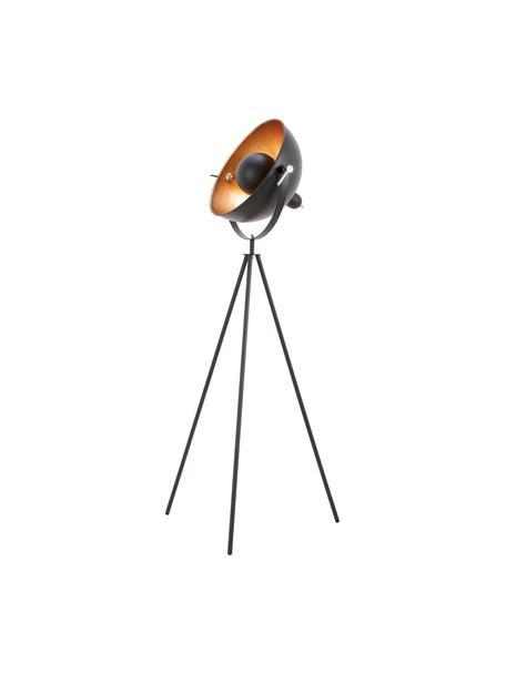 Driepoot vloerlamp Captain in industrieel design, Decoratie: metaal, Lampvoet: gepoedercoat metaal, Zwart, Ø 39 x H 145 cm