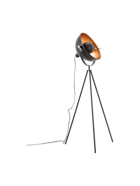 Tripod Stehlampe Captain im Industrial-Style, Dekor: Metall, Schwarz, Ø 39 x H 145 cm