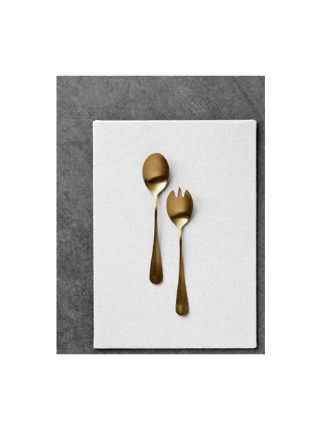 Komplet sztućców do sałatek Gold, 2 elem., Stal szlachetna, powlekana PVD, Odcienie złotego, matowy, D 25 cm