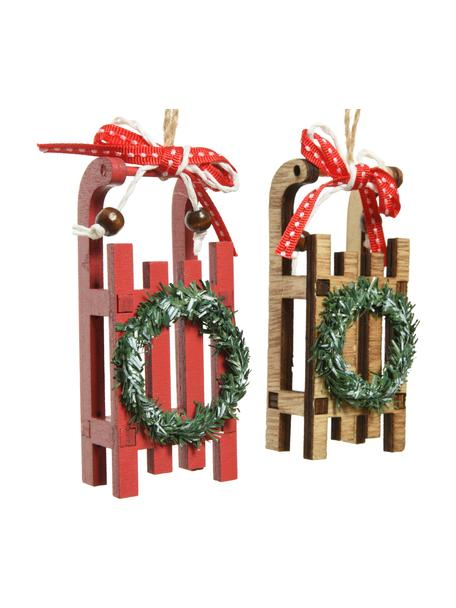Set 2 ciondoli decorativi Sleds, alt. 10 cm, Legno, Beige, rosso, verde, Larg. 4 x Alt. 10 cm