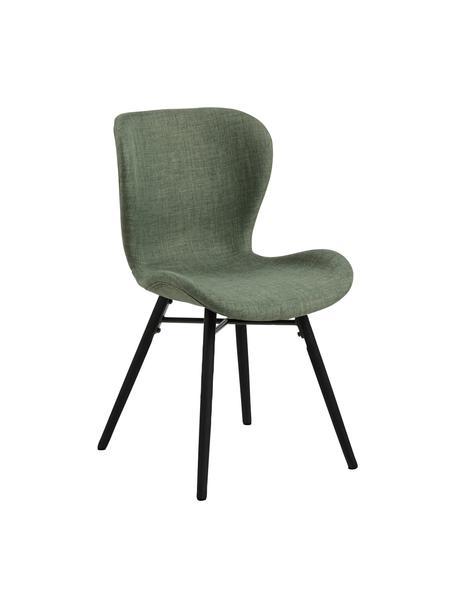 Gestoffeerde stoelen Batilda in groen, 2 stuks, Bekleding: 100% polyester, Poten: rubberhout, gecoat, Geweven stof groen, zwart, 47 x 53 cm