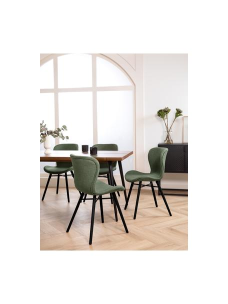 Sedia imbottita in tessuto verde Batilda 2 pz, Rivestimento: 100% poliestere, Gambe: legno di albero della gom, Tessuto verde, nero, Larg. 47 x Prof. 53 cm