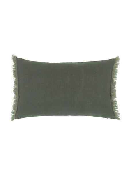 Federa arredo in lino verde scuro con frange Luana, 100% lino, Verde, Larg. 30 x Lung. 50 cm