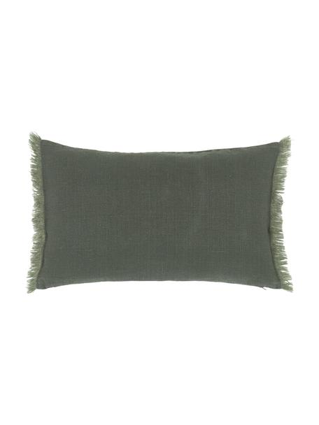 Linnen kussenhoes Luana in donkergroen met franjes, 100% linnen, Groen, 30 x 50 cm