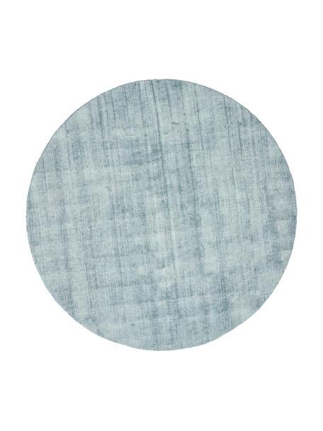 Rond viscose vloerkleed Jane in ijsblauw, handgeweven, Bovenzijde: 100% viscose, Onderzijde: 100% katoen, IJsblauw, Ø 115 cm (maat XS)