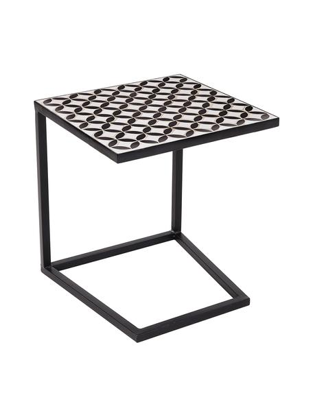 Gartenbeistelltisch Palazzo, Tischplatte: Keramik-Mosaiksteine, Beine: Metall, pulverbeschichtet, Schwarz, Weiß, B 40 x T 40 cm