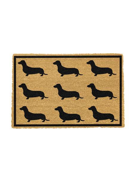 Zerbino in fibra di cocco con cani Dachshund, Retro: PVC, Beige, nero, Larg. 40 x Lung. 60 cm
