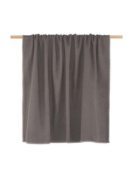 Manta con costura Sylt, Gris pardo, An 140 x L 200 cm