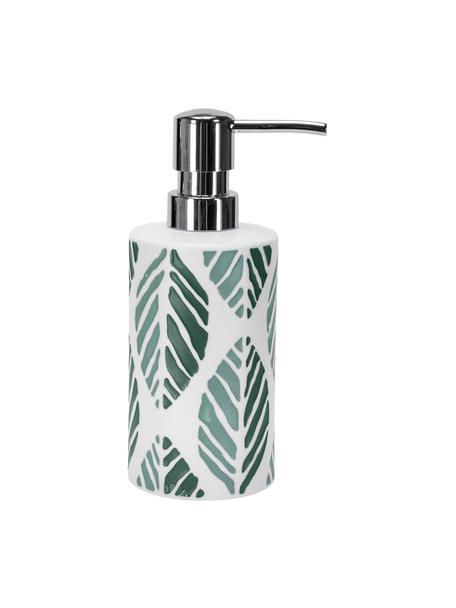 Dispenser sapone in gres Leaf, Testa della pompa: metallo, Verde, Ø 7 x Alt. 18 cm