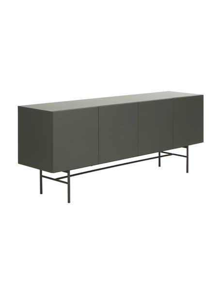 Modern dressoir Anders met 4 deuren in grijs, Frame: gelakt MDF, Poten: gepoedercoat metaal, Grijs, 200 x 79 cm