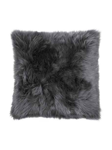 Federa arredo in pelle di pecora liscia color grigio scuro Oslo, Retro: lino, Fronte: grigio scuro Retro: grigio scuro, Larg. 40 x Lung. 40 cm