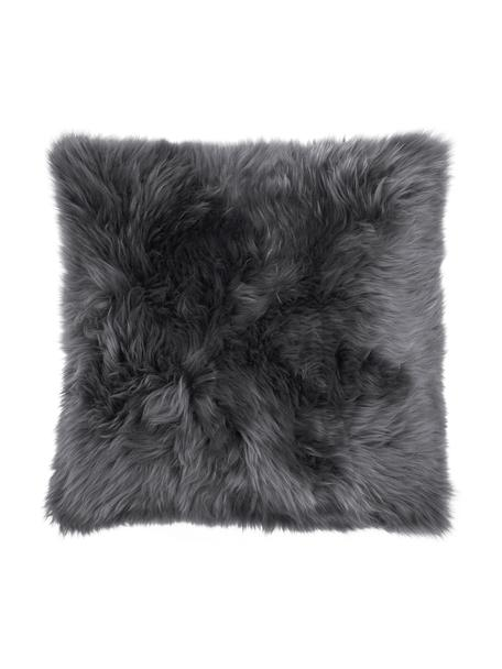 Poszewka na poduszkę ze skóry owczej Oslo, Przód: ciemny szary tył: ciemny szary, S 40 x D 40 cm