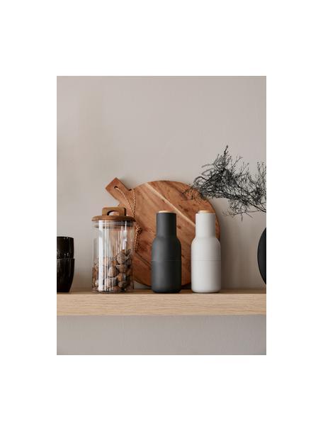 Designer peper- en zoutmolen Bottle Grinder met houten deksel, Frame: kunststof, Deksel: hout, Antraciet, lichtgrijs, bruin, Ø 8 x H 21 cm