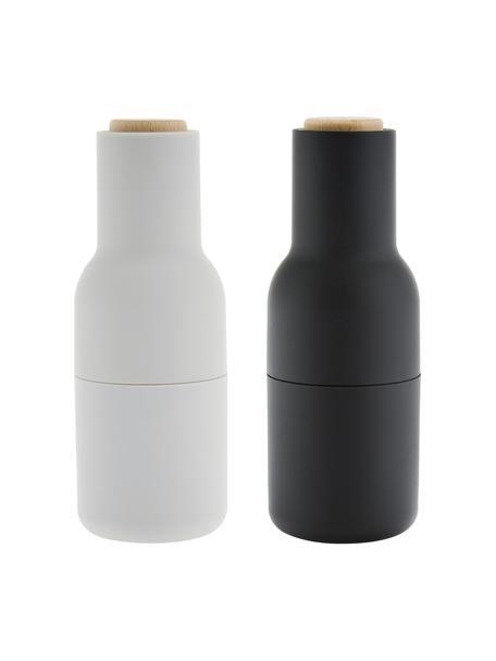 Designer peper- en zoutmolen Bottle Grinder in antraciet/lichtgrijs met houten deksel, Frame: kunststof, Deksel: hout, Antraciet, lichtgrijs, bruin, Ø 8 x H 21 cm