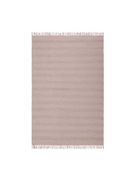 Tappeto boho in cotone a righe con frangeTanya, 100% cotone, Rosa, Larg. 160 x Lung. 230 cm (taglia M)