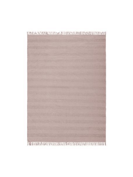 Baumwollteppich Tanya mit Ton-in-Ton-Webstreifenstruktur und Fransenabschluss, 100% Baumwolle, Rosa, B 160 x L 230 cm (Größe M)