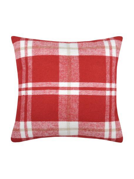 Funda de cojín Granier, 95%poliéster, 5%lana, Rojo, blanco, beige, An 40 x L 40 cm