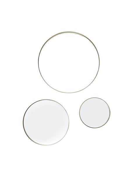 Set 3 specchi da parete con cornice dorata Ivy, Cornice: metallo ottonato, Superficie dello specchio: lastra di vetro, Retro: pannello di fibra a media, Ottone spazzolato, Set in varie misure