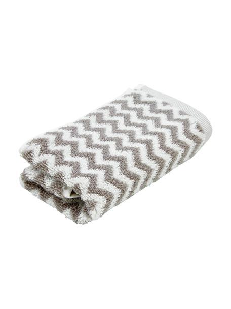 Handdoek Liv met zigzag patroon, 100% katoen, middelzware kwaliteit, 550 g/m², Taupe, crèmewit, Gastendoekje