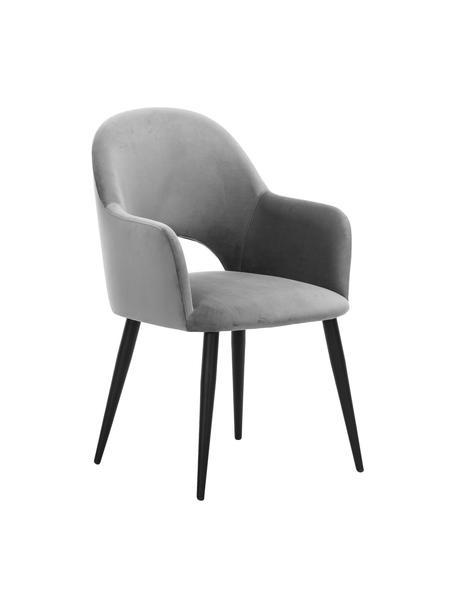 Sedia con braccioli in velluto grigio Rachel, Rivestimento: velluto (poliestere) Il r, Gambe: metallo verniciato a polv, Velluto grigio, Larg. 64 x Prof. 47 cm
