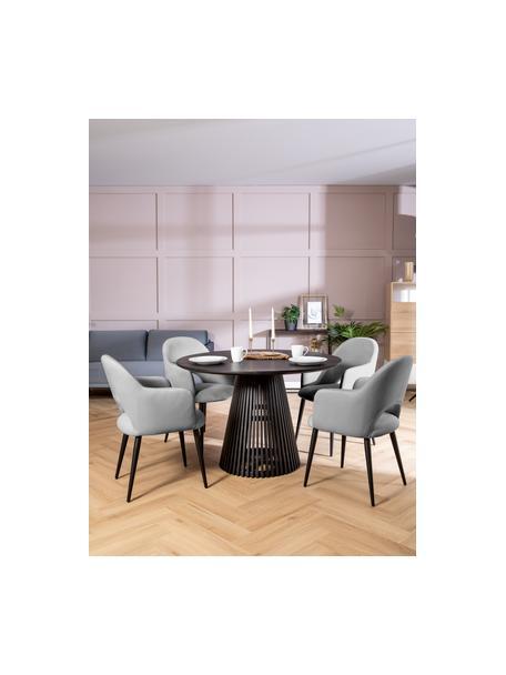 Krzesło z podłokietnikami z aksamitu Rachel, Tapicerka: aksamit (poliester) Dzięk, Nogi: metal malowany proszkowo, Aksamitny szary, S 56 x G 70 cm