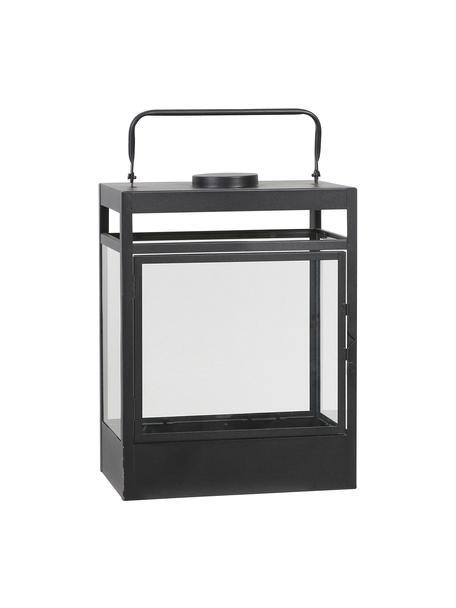 Mobiele batterij-aangedreven LED lantaarn Flint, Frame: gecoat metaal, Zwart, 38 x 18 cm