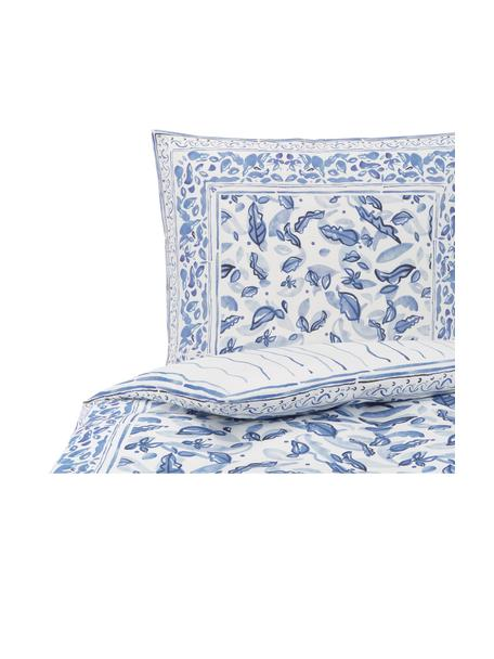 Baumwollsatin-Wendebettwäsche Andrea mit Blattmotiv, Webart: Satin Fadendichte 200 TC,, Blau, 135 x 200 cm + 1 Kissen 80 x 80 cm