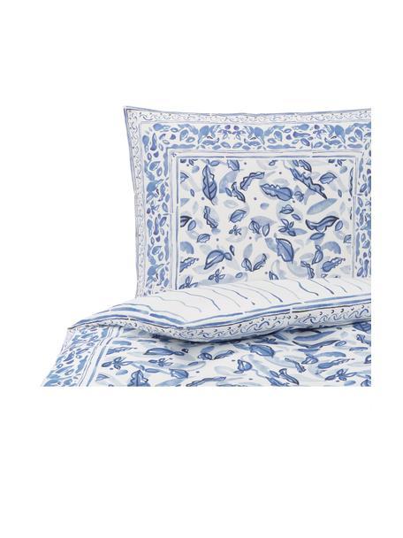 Baumwollsatin-Wendebettwäsche Ryle mit Blattmotiv, Webart: Satin Fadendichte 200 TC,, Blau, 135 x 200 cm + 1 Kissen 80 x 80 cm