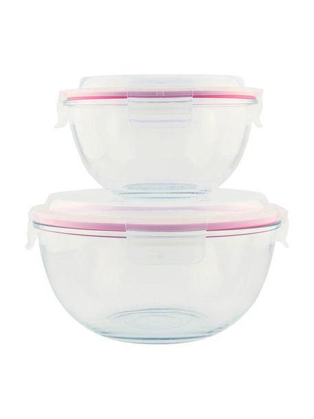 Saladeschalenset Lilo, 2-delig, Houder: gehard glas, vrij van ver, Seal: polypropyleen, Sluiting: siliconen, Transparant, roze, Set met verschillende formaten