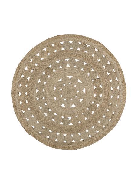 Alfombra redonda artesanal de yute Shyam, 100%yute, Yute, Ø 150 cm (Tamaño M)