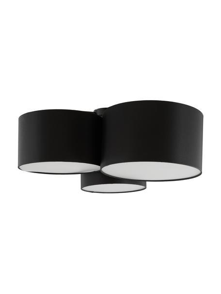 Grote plafondlamp Luke, Baldakijn: gepoedercoat metaal, Zwart, Ø 61 x H 26 cm