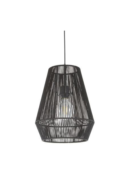 Lámpara de techo Hadi, Pantalla: tela, Anclaje: metal con pintura en polv, Estructura: metal, con pintura en pol, Cable: plástico, Negro, Ø 30 x Al 38 cm
