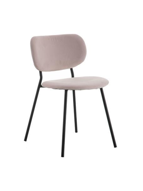 Sedia imbottita in velluto Elyse, Rivestimento: 100% velluto di poliester, Gambe: metallo, Rosa cipria, nero, Larg. 49 x Prof. 46 cm