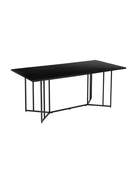 Eettafel Luca, Tafelblad: mangohout, Frame: gepoedercoat metaal, Tafelblad: zwart gelakt mangohout. Frame: mat zwart, B 180 x D 90 cm
