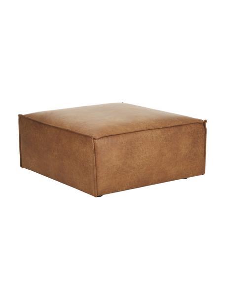 Reposapiés puf de cuero Lennon, Tapizado: cuero reciclado (70%cuer, Estructura: madera de pino maciza, ma, Patas: plástico Las patas están , Cuero marrón, An 88 x Al 43 cm