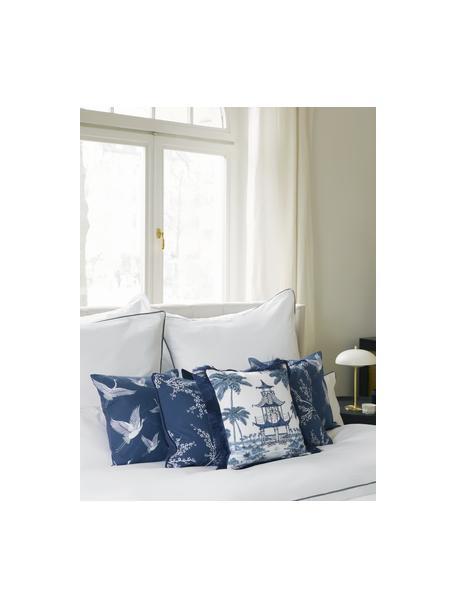 Kissenhülle Gracia  in Blau/Weiß mit Kranichmotiv, 100% Baumwolle, Blau, 40 x 40 cm