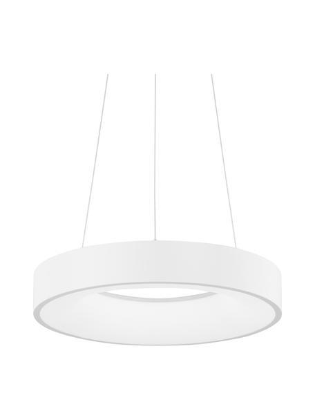 Dimbare LED hanglamp Rando in wit, Lampenkap: gecoat aluminium, Diffuser: acryl, Baldakijn: gecoat aluminium, Wit, Ø 38 x H 6 cm