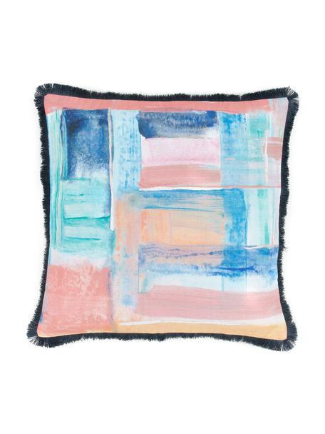 Kissenhülle Colori im Aquarell-Look in Pastelltönen mit Fransen, Bezug: 100% Baumwolle, Fransen: 100% Polyester, Mehrfarbig, 50 x 50 cm