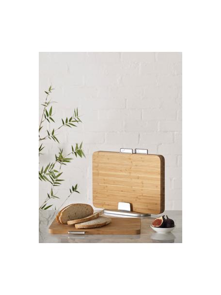 Schneidebretter Index Bamboo mit Halterung, 4-tlg., Halterung: Metall, verzinkt, Bambus, Zink, 35 x 30 cm