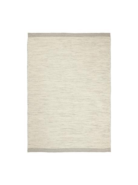 Handgeweven wollen vloerkleed Asko in crèmekleur/lichtgrijs, gevlekt, Bovenzijde: 90% wol, 10% katoen, Onderzijde: katoen Bij wollen vloerkl, Beige, B 170 x L 240 cm (maat M)