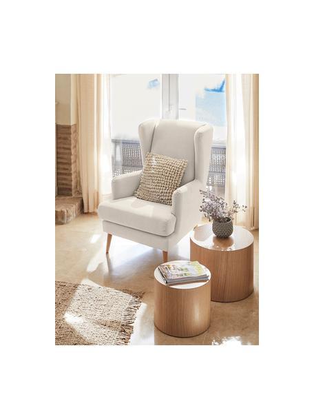 Fotel uszak w stylu scandi Robin, Tapicerka: 90% poliester, 10% poliam, Nogi: drewno lakierowane, Beżowy, S 77 x G 85 cm