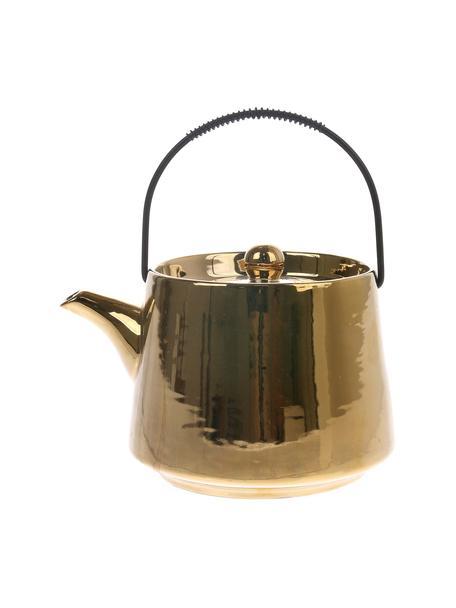 Handgemachte Keramik Teekanne Bold & Basic, 840 ml, Griff: Stahl, Goldfarben, hochglänzendGriff: Schwarz, 840 ml