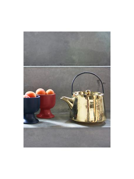 Handgemaakte keramiek Theepot Bold & Basic, 840 ml, Hoogglanzend goudkleurig. Handvat: zwart, 840 ml