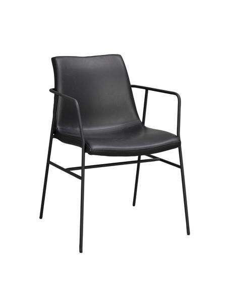 Sedia in similpelle nera con braccioli Huntington 2 pz, Rivestimento: similpelle, Struttura: compensato, Gambe: metallo rivestito, Similpelle nero, Larg. 54 x Prof. 58 cm