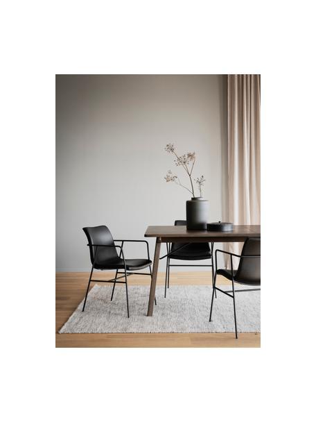 Krzesło z podłokietnikami ze sztucznej skóry Huntington, 2 szt., Tapicerka: sztuczna skóra, Stelaż: drewno warstwowe, Nogi: metal powlekany, Czarny, S 54 x G 58 cm