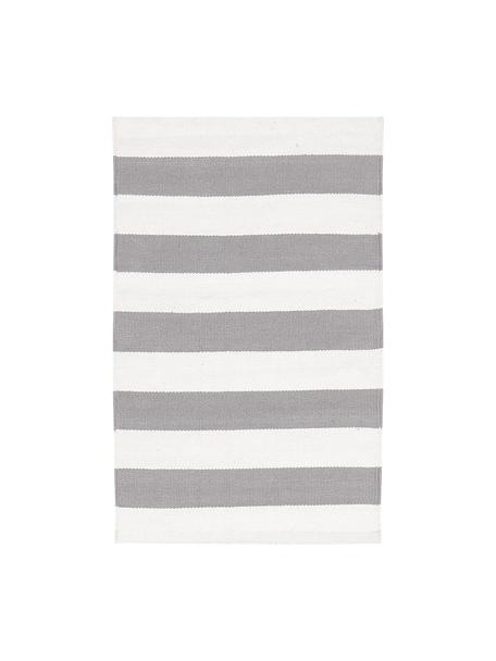 Gestreept katoenen vloerkleed Blocker in grijs/wit, handgeweven, 100% katoen, Crèmewit/lichtgrijs, B 50 x L 80 cm (maat XXS)