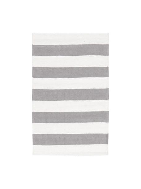 Gestreifter Baumwollteppich Blocker in Grau/Weiss, handgewebt, 100% Baumwolle, Cremeweiss/Hellgrau, B 50 x L 80 cm (Grösse XXS)